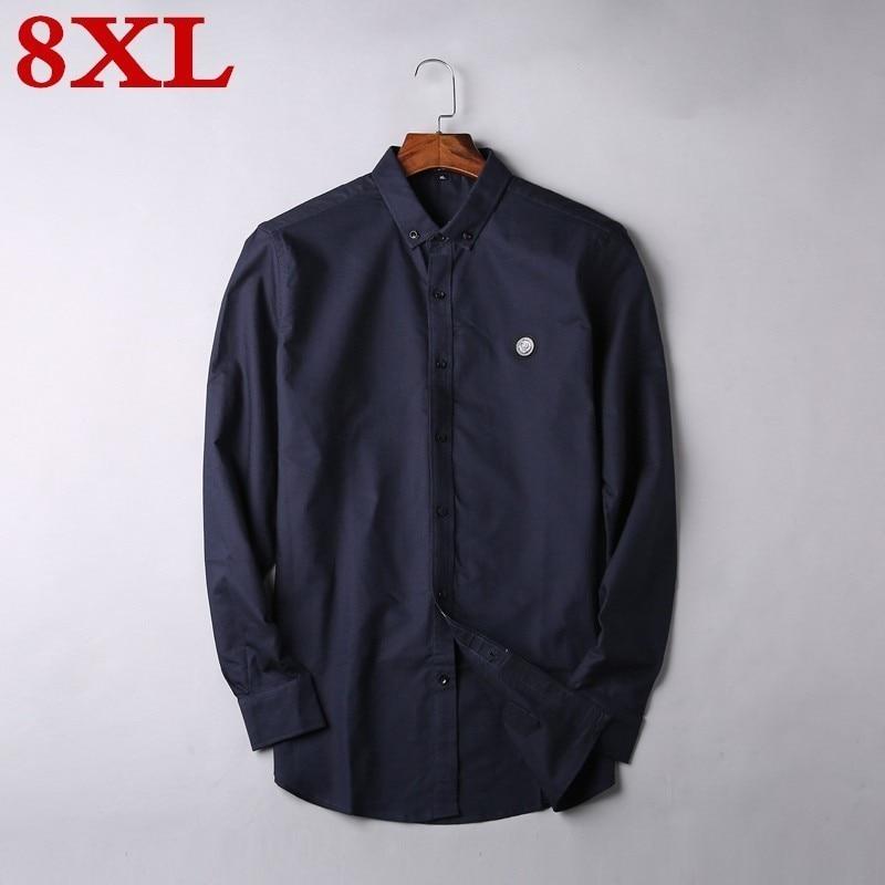 2020 New 8XL 7XL 6XL 5XL Plus Size High Quality Men Shirt Long Sleeve  Twill Solid Formal Business Shirt Brand Man Dress Shirts