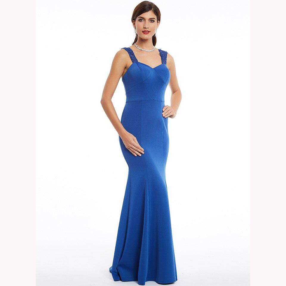 Dressv Dark Royal Blue Long Evening Dress Cheap Straps Mermaid Sleeveless Wedding Party Formal Dress Evening Dresses