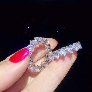 Image 3 - バンドリング 925 スターリングシルバー作成モアッサナイト結婚式婚約パーティーカクテルダイヤモンドリング宝石宝飾品の卸売