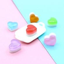 10 Uds. De gelatina de arcoíris, corazón de amor, algodón, plástico de azúcar de imitación, accesorios de bricolaje para juguetes de arte, accesorios de joyería