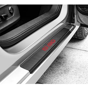Image 4 - 4 pçs de fibra carbono adesivos porta do carro soleiras protetor porta scuff placa para volvo s80 acessórios interiores