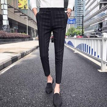 2019 Summer Stripe Pants Mens Casual Mens Trousers Office Checkered Pant Perfume Men Dress Pants Slim Fit Pantalon Hombre Vestir