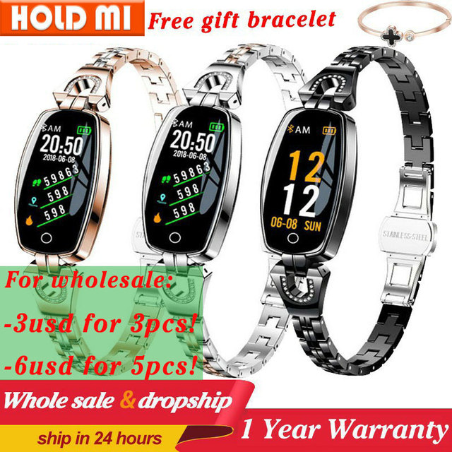 H8ผู้หญิงสมาร์ทนาฬิกาHeart Rate Monitorความดันโลหิตสมาร์ทIP67กันน้ำกิจกรรมฟิตเนสTrackerสร้อยข้อมือผู้หญิง