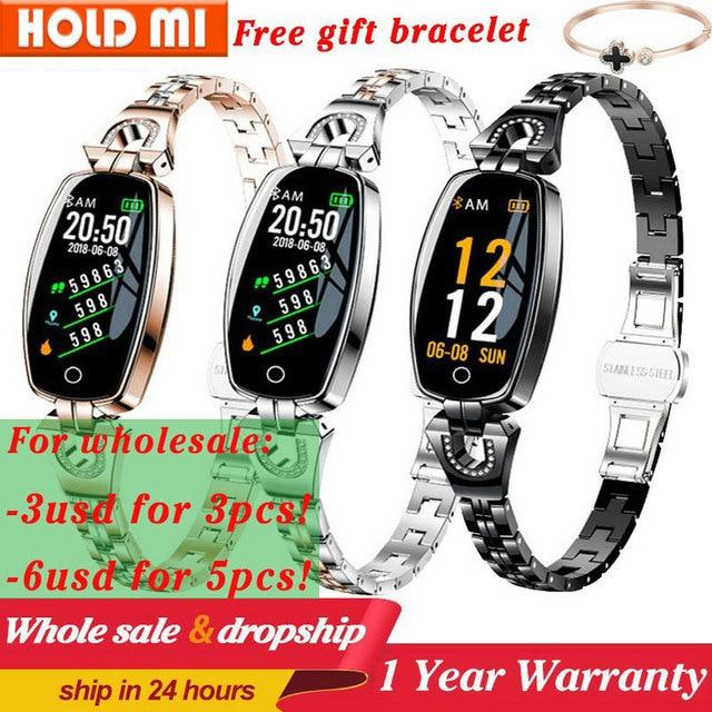 H8 feminino relógio inteligente moda monitor de freqüência cardíaca pressão arterial banda inteligente ip67 à prova dip67 água fitness atividade rastreador senhora pulseira