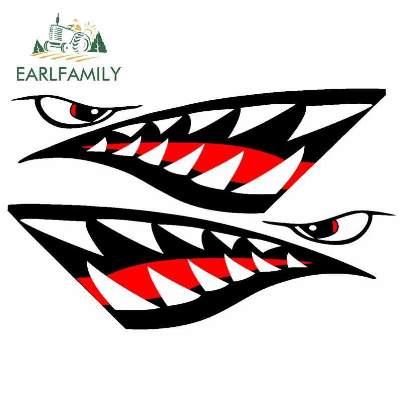 EARLFAMILY-calcomanías impermeables con dientes de tiburón para coche, pegatinas de dibujos animados, decoración creativa de motocicleta, Graffiti para SUV JDM, 13cm