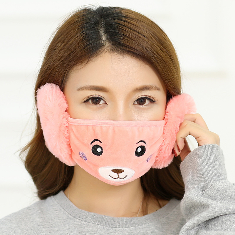 Lovely Cute Adult Winter With Earmuffs Mask Kpop Mouth Face Mask Winter Anime Mask Lady Cartoon Bear Plush Warm Earmuffs
