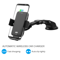 10W Qi Car Wireless Charger With 4 6.5 Clip For IPhone X Xiaomi Samsung 9 Auto Clamping Fast Charging Car Phone Holder Charger