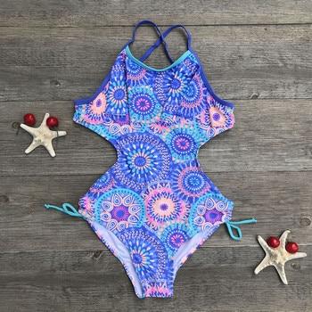 11-16 Years Teen Children Girls Print Africa Style One-piece Swimsuit Beach Swimwear 2020 Summer Girls Swimwear фото