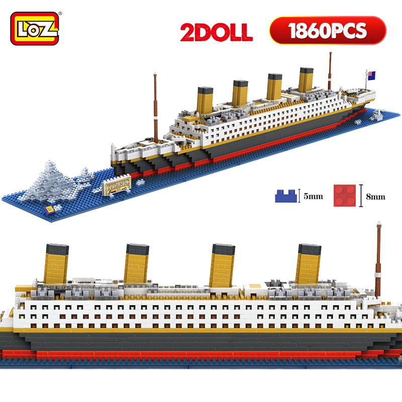 Interes 1860pcs Titanic Ship 3D mini diy Building Blocks Toy Titanic Boat Model