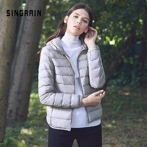 Image 2 - SINGRAIN зимнее 95% утиный пух куртка пуховик теплое однотонная портативная женский большой размер пальто пуховик