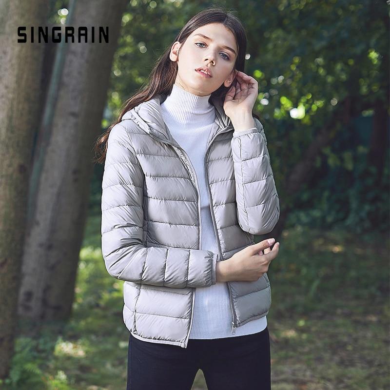 Image 2 - SINGRAIN Women Down Jacket Hooded 95% Duck Warm Overcoat Solid  Portable Outerwear Large Size Ultra Light Down Coat WinterDown Coats