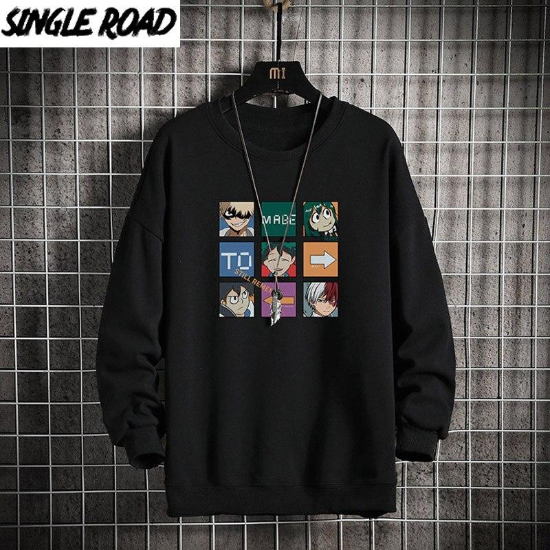 Single Road Crewneck Sweatshirts Men 2021 Anime Graphic Sweatshirts Male Oversized Harajuku Japanese Streetwear Black Hoodie Men