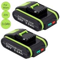 3.0Ah 20V Lithium-Ion Battery for Worx WA3551 WA3551.1 WA3553 WA3553.2 WA3641 WG629E WG546E WU268 for Worx Power Tools
