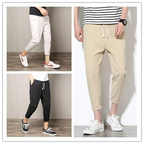 Fashion Pants New Style Summer Capri Pants Trend Casual Versatile Students Men's Trousers Flax Cotton Linen 2019