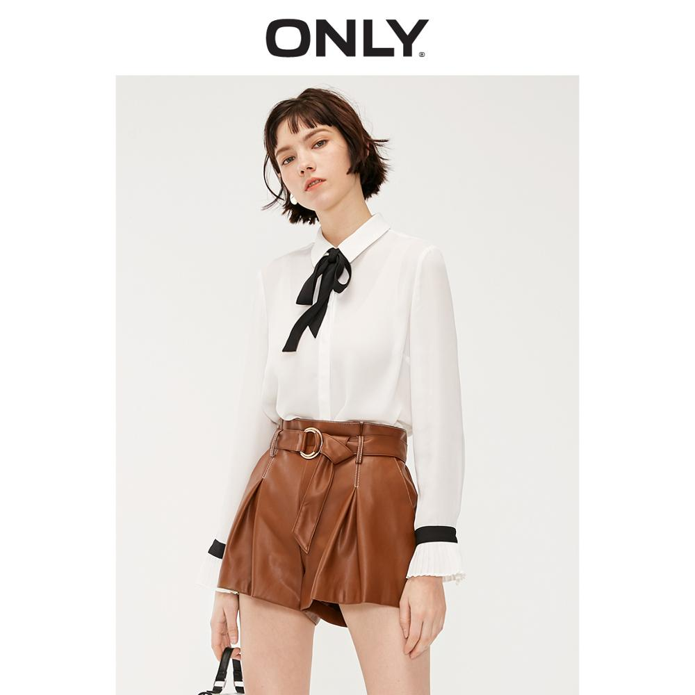 ONLY Women's Loose Fit Bowtie Long-sleeved Chiffon Shirt | 119105517