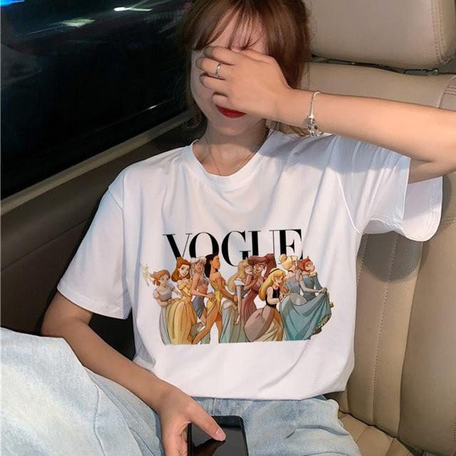 FIXSYS Vogue Harajuku Ullzang T Shirt Women Funny Cartoon Princess T-shirt 90s Graphic Aesthetic Tshirt Fashion Kawaii Top Tees