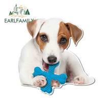 EARLFAMILY 13cm x 13cm Jack Russell Terrier komik araba çıkartmaları DIY vinil malzeme çıkartması araba aksesuarları çizik geçirmez dekor