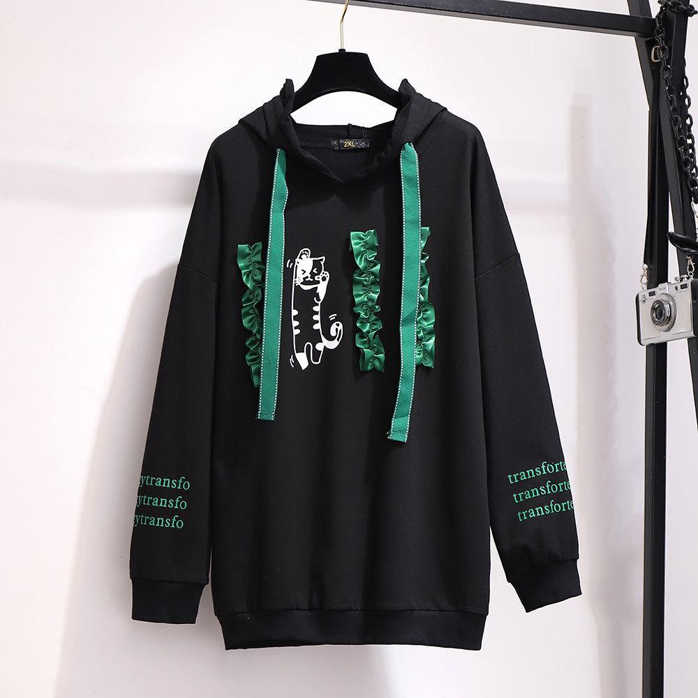 2XL-6XL Plus Size Autumn Women Hooded Sweatshirt Cotton Casual Long Sleeve Letter Pullover 5XL Large Size Winter Sweatshirt Tops