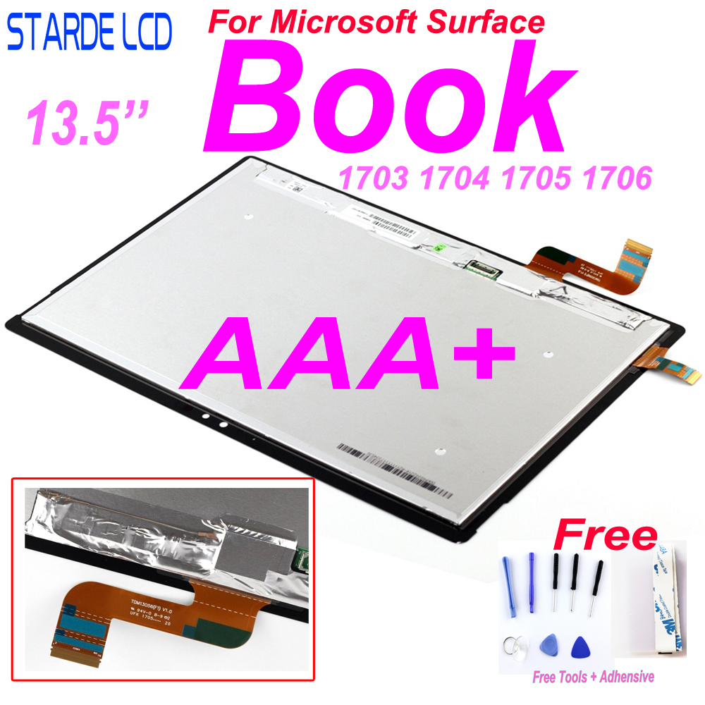 AAA+ Starde Original LCD For Microsoft Surface  Book1 Book 1 1703 1704 1705 1706LCD Display Touch Screen Digitizer Assembly