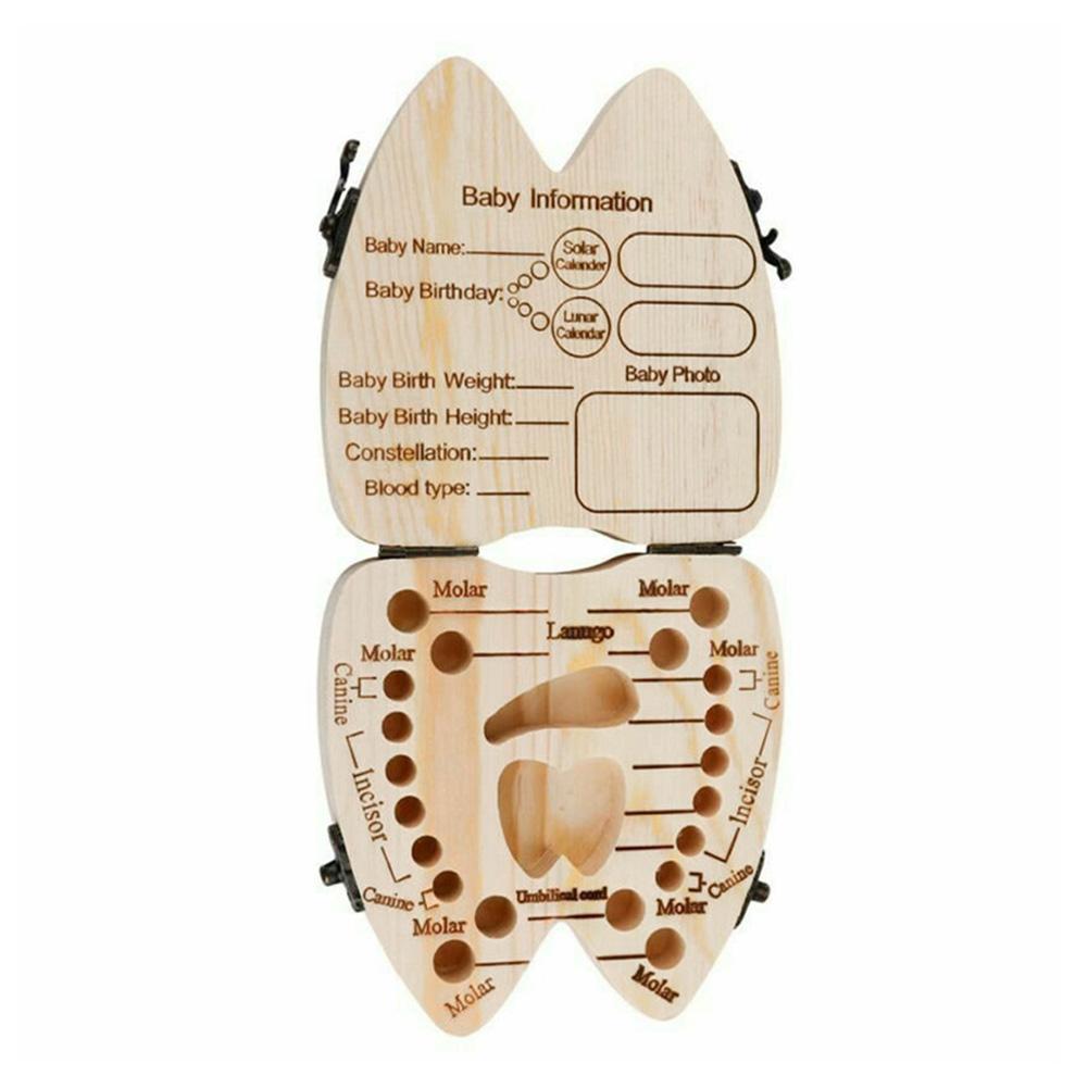 Wood Baby Tooth Box Kid Umbilical Lanugo Keepsakes Storage Case English-Typ