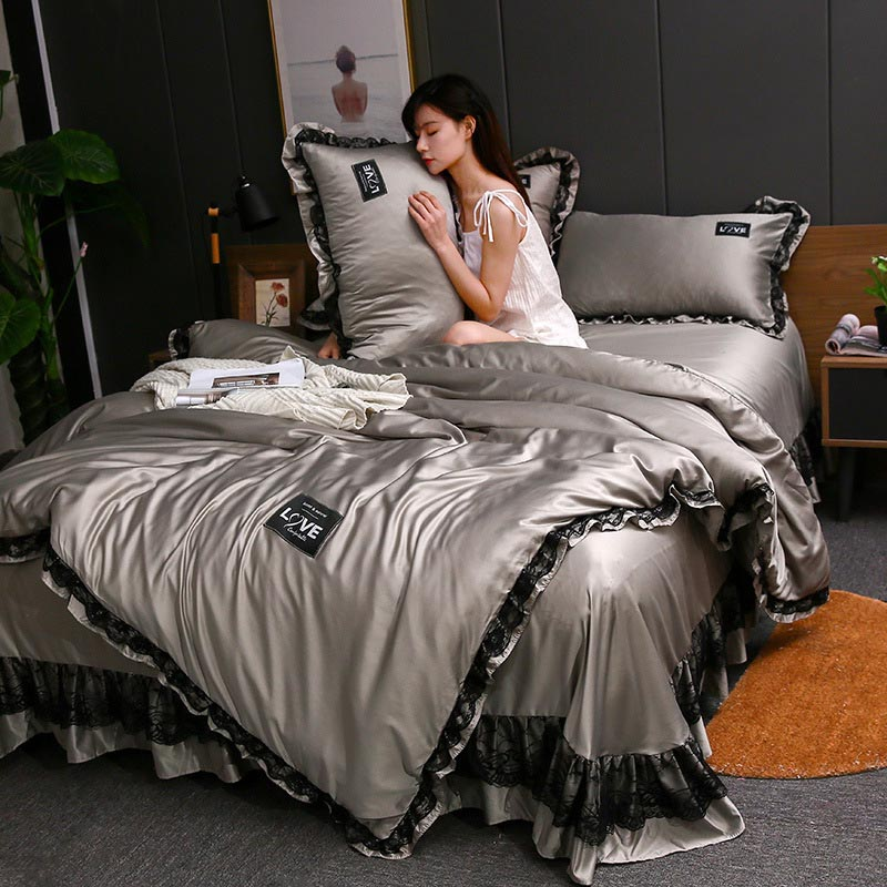 3pcs Lace Bedding Set Luxury Wash Silk Duvet Cover For Bedroom Soft Quilt Cover And Pillowcase Nordic Bed Linens Sets For Home 2