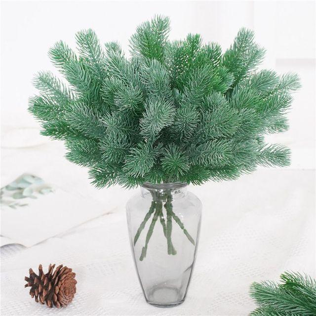 16 Fork Pine Needle Branches Artificial Pine Fake Flowers Plants Christmas Tree Wedding Decor DIY Handcraft Children Gift 2