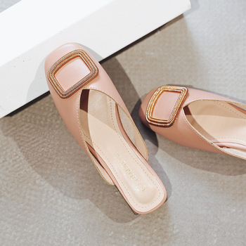 Designer Women Pumps Slippers Slip on Mules Low Heel Casual Shoes British Wooden Block Heels Summer Pumps Footwear 3