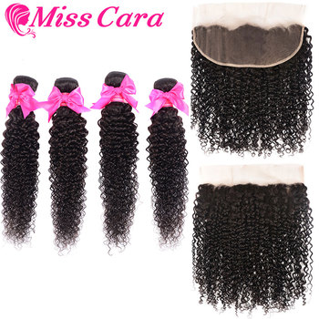 Mongolian Kinky Curly Bundles With Frontal 100% Remy Human Hair 3/4 Bundles With Closure Miss Cara Lace Frontal With Bundles
