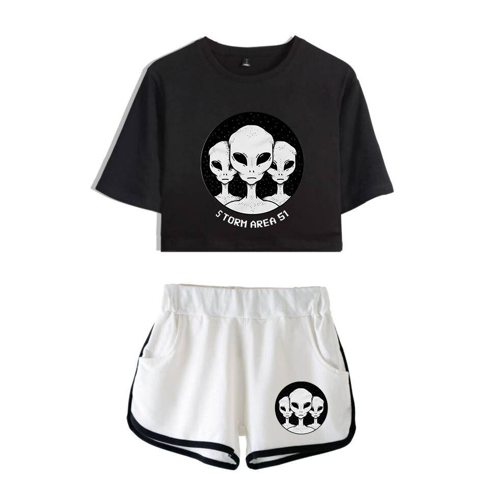 2019 Storm Area 51 Two Piece Set Shorts Women Casual Super Shorts Outerwear Femme Contrast Summer Soft Elastic Waist Shorts Cool