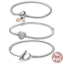 HOT SALE 9 Style Classic 925 Sterling Silver Original 3mm Bracelets For Bead Charms DIY Jewelry Fashion Women Gift Dorpshipping