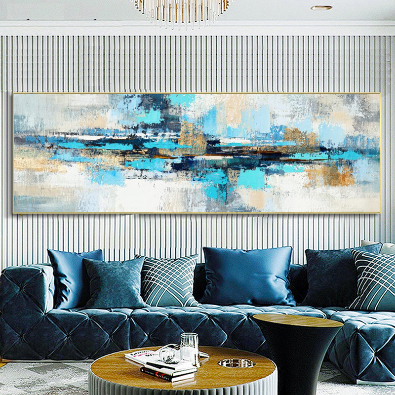 Modern Abstract Oil Painting On Canvas Posters And Prints Wall Art Painting Blue Abstract Art Picture For Living Room Home Decor