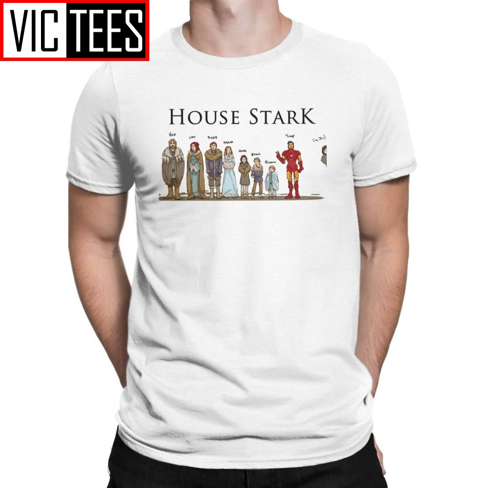 Game Of Thrones T-Shirts House Stark Family Members Winterfell Men T Shirt Hipster Cotton Short Sleeved Tees Grey Clothes