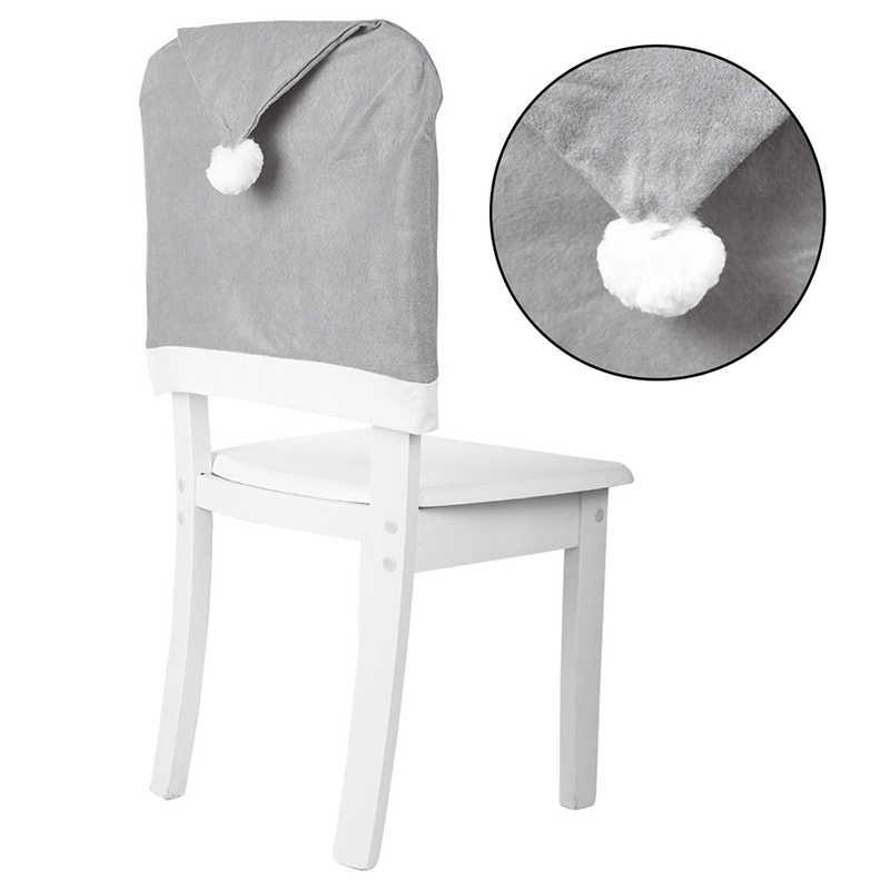 Non-ทออาหารค่ำตารางหมวกเก้าอี้ครอบคลุม 58*49 ซม.คริสต์มาสเก้าอี้ฝาครอบคริสต์มาสตกแต่งสำหรับ Home