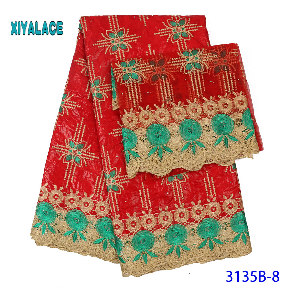 Red African Fabric Wax Holland Wax Cloth 100% Cotton Material African Wholesale Cotton Wax Fabric For Dress 5+2yards YA3135B-8