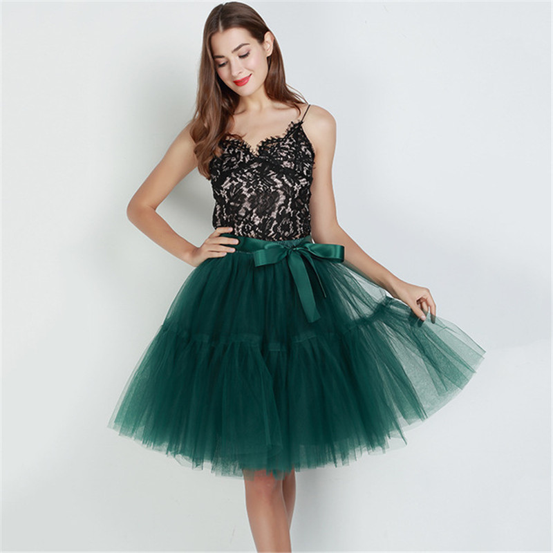Free Shipping 5 Layer 2019 Tutu Tulle Skirts Midi Skirt Women Fashion Party Design Saias Femininas Formal Faldas Cortas