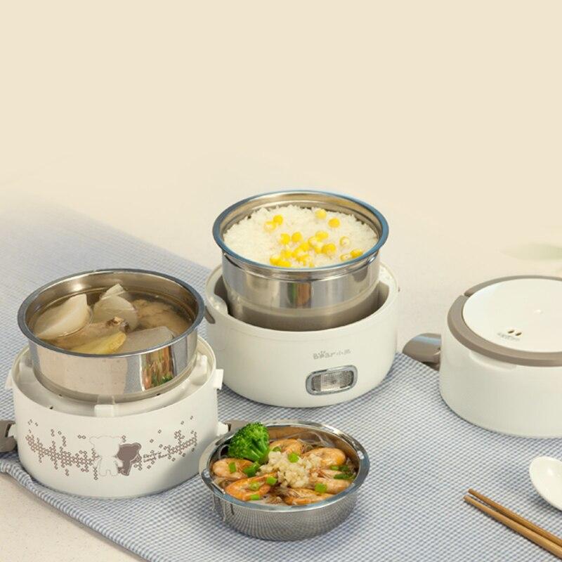 Boîte à déjeuner électrique 2L grande capacité Portable trois couches cuiseur à riz boîte à riz en acier inoxydable cuisson frais travail - 4