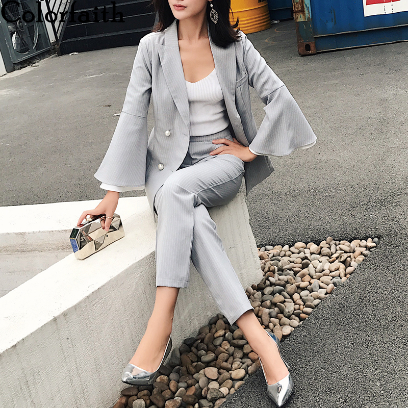 Colorfaith 2020 New Spring Woman Sets 2 Piece Pagoda Sleeve Striped Matching Pants Casual High Elastic Waist Vintage Suit WS1205