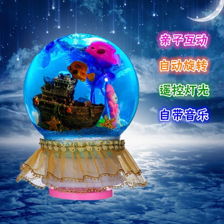 Creative DIY Crystal Palace Children'S Educational Handmade Material Remote Control Rotating Shining Crystal Ball Music Box Musi