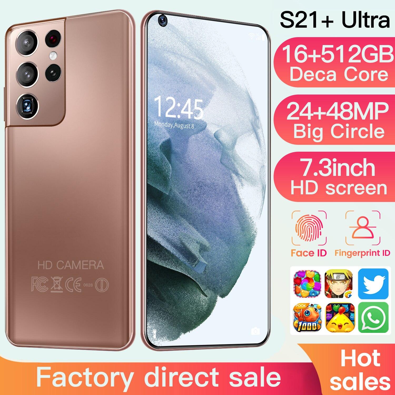 New Galaxy S21 + Ультра 7,2 дюймовый смартфон 6800 мА/ч, разблокировать глобальная версия 5G Android 10,0 24MP + 48MP 16GB + 512GB телефон Смартфон