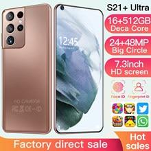 Yeni Galaxy S21 + Ultra 7.2 inç akıllı telefon 6800mAh kilidini küresel sürüm 5G Android 10.0 24MP + 48MP 16GB + 512GB Telefon akıllı Telefon