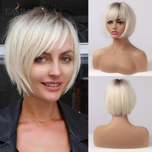 EASIHAIR Short Hair Wig with Bangs Pixie Cut Ombre Black Ash Light Blonde Synthetic Wigs for Women Cosplay Wigs Heat Resistant(China)