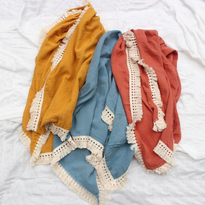 Newborn Swaddle Muslin Unisex Tassel Infant Baby Blanket Receiving Blanket Swaddle Wrap Blanket