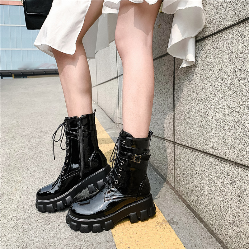 YMECHIC 2019 Black Platform Combat Ankle Boots for Women Lace Up Buckle Strap Woman Shoes Side Zip Winter Biker Boots Big SizeAnkle Boots   -