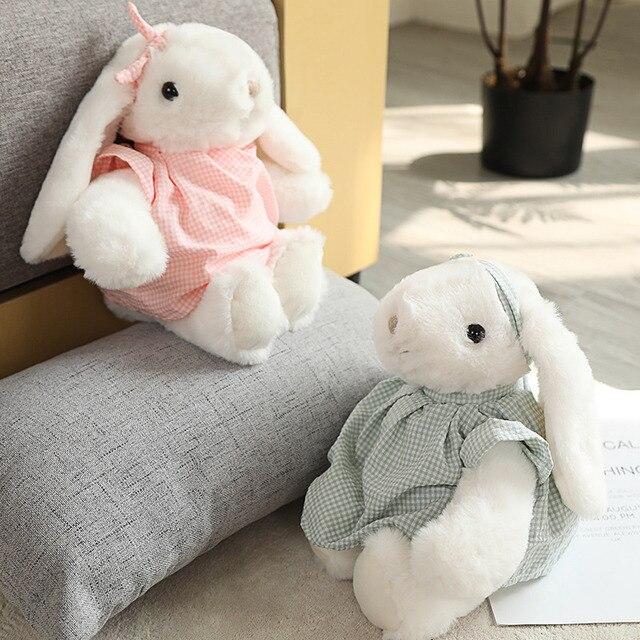 30cm Comforting White Lop Doll Dressed Checks Skirt Bunny Cute Animal Plush Toy Baby Toddler Sleeping Friend Birthday Gift 2