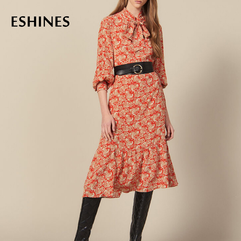 ESHINES Vintage rouge Floral imprimé robe mi-longue élégant noeud cou volants lanterne manches douce robe vacances bohème Chic robe