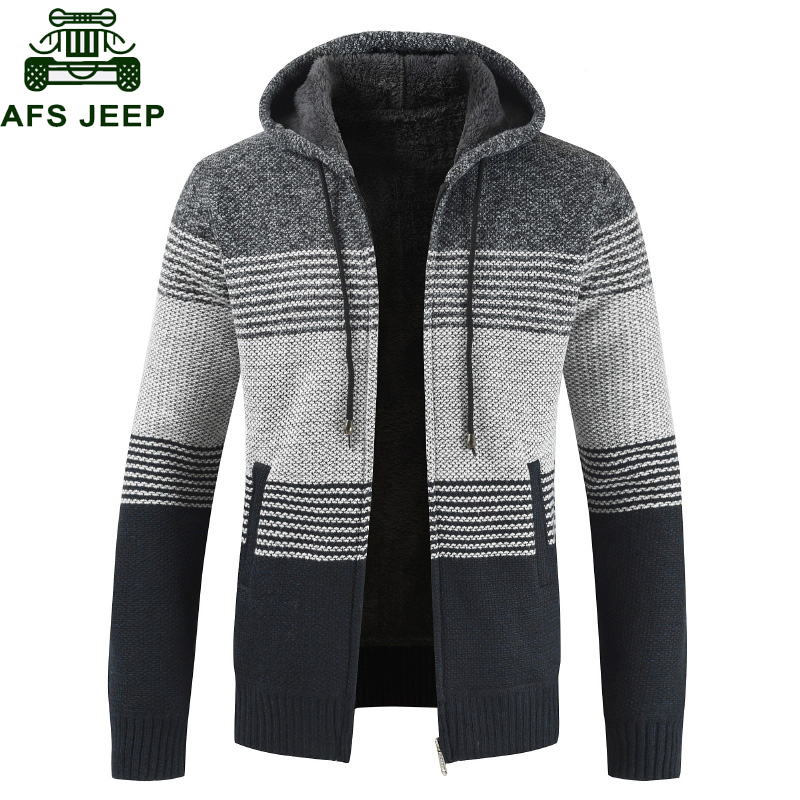 New 2019 Fashion Winter Cardigan Sweater Men Casual Hooded Collar Thick Warm Fleece Sweatercoat Partchwork Striped Mens Sweaters