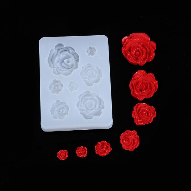 7 Sizes Resin Rose Flower Pendant Silicone Mold Resin Jewelry Making Art Crafts