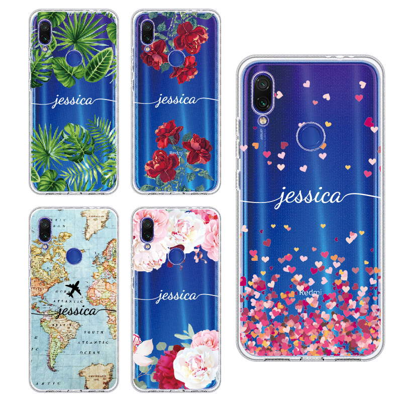 Custom Personalized your Initial Name Flower Phone Case For Xiaomi Mi Redmi Note 5 6 7 8 9 10 lite Pro Plus Soft TPU Clear Case
