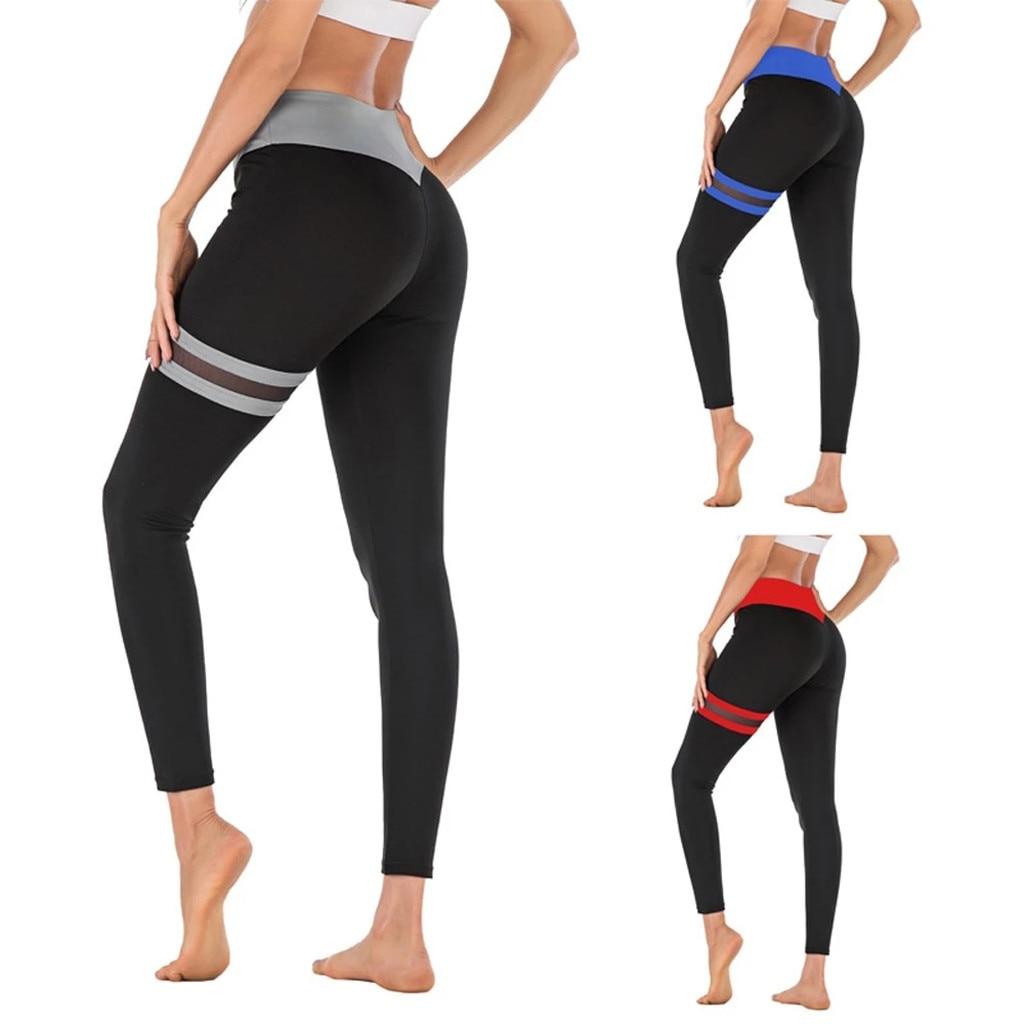 Sporty Pants High Waist Jeggings Sportswear Women Fitness Mesh Splice Push Up