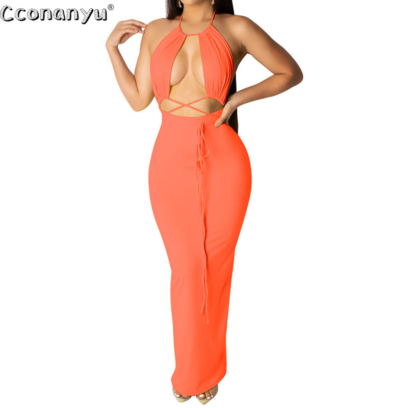 Women Lace Up Halter A-Line Dress 2020 Summer Backless Solid Holloow out Dress Sexy Slim Bandage Dress